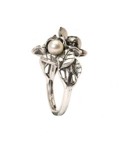 Troldekugler Hvidtjørn Sterling Sølv Ring med Ferskvandsperle