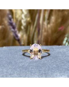 14 Karat Guld Ring fra Henrik Ørsnes Design med Pink Morganit og Diamanter 0,08 Carat W/SI