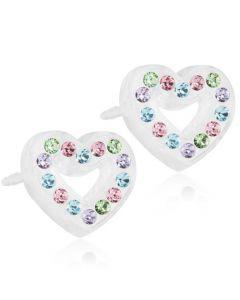 Blomdahl Heart Hollow Medicinsk Plastik Øreringe med Swarovski Krystaller
