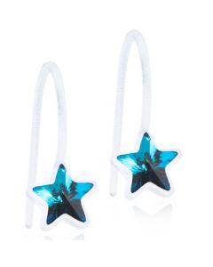 Stjerne Medicinsk Plastik Ørestikker fra Blomdahl med Swarovski Krystaller