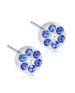 Titanium Ørestikker fra Blomdahl med Blå Krystaller