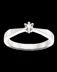 Victoria 8 Karat Hvidguld Ring fra Scrouples med Brillant 0,05 Carat TW/SI