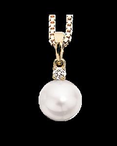 14 Karat Guld Vedhæng fra Scrouples med Perle og Diamant 0,04 Carat W/SI