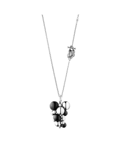 Georg Jensen Moonlight Grapes Halskæde i Oxideret Sølv med Sort Agat og Diamant 3536314