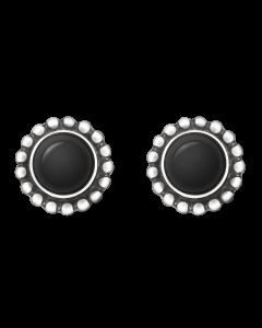 Georg Jensen Moonlight Blossom ørestikker - sølv m/sort agat
