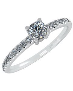 Smykkekæden 14 Karat Hvidguld Ring med Brillanter 50-00339-1855