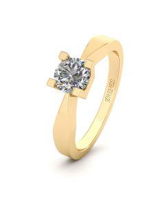 Henrik Ørsnes Design 14 Karat Guld Ring med Brillant 0,50 Carat W/SI