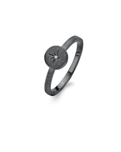 Spirit Icons Star Ring i Oxideret Sølv med Diamant 0,01 Carat