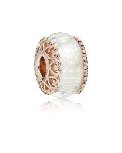 Pandora Rosaforgyldt Sølv Charm med Glas 787576