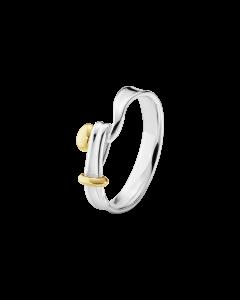 Georg Jensen Str 50 Torun Sterling Sølv Ring med 18 Karat Guld