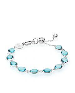 Izabel Camille Anna Bella Sterling Sølv Armbånd med Aquafarvet Kvarts