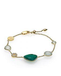 Izabel Camille Orient Armbånd i Forgyldt Sølv med Grøn Sten