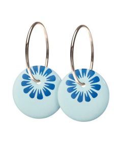 Scherning Bloom Cloud Blue Sterling Sølv Øreringe med Porcelæn