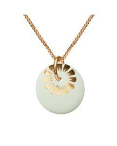 Bloom Pistacchio Gold Forgyldt Sølv Halskæde fra Scherning med Porcelæn