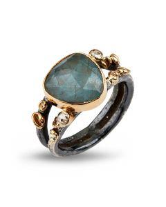 By Birdie Gili Sea Aquamarine Ring i Sterling Sølv med Akvamarin og Diamanter 0,20 Carat
