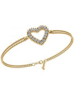 Smykkekæden Hjerte Armbånd i Forgyldt Sølv DML0180FG
