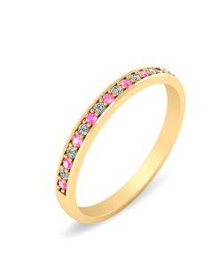 Garder 14 Karat Guld Ring fra Smykkekæden med Pink Safir og Diamanter 0,08 Carat W/SI