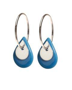 Scherning Duo Teardrop Blue Silver Øreringe i Sterling Sølv med Porcelæn