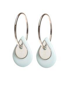Scherning Duo Teardrop Cloud Silver Øreringe i Sterling Sølv med Porcelæn