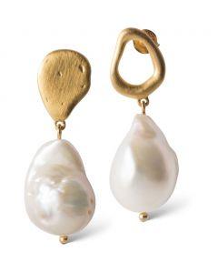 Baroque Pearl Forgyldt Sølv Øreringe fra Enamel med Barokke Perler