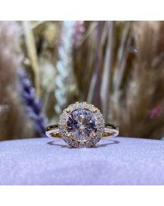 Henrik Ørsnes Design 14 Karat Guld Ring med Pink Morganit og Brillanter 0,27 Carat W/SI