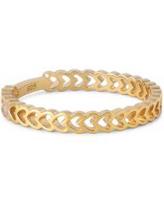 Enamel Heart Ring i Forgyldt Sølv med Lyserød Emalje
