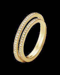 Georg Jensen Halo 18 Karat Guld Ring med Diamanter 0,39 - 0,46 Carat TW/VS