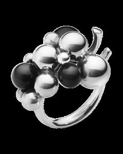 Georg Jensen Medium Moonlight Grapes Ring i Sterling Sølv med Onyx
