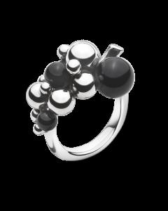 Georg Jensen Moonlight Grapes Lille Ring i Sterling Sølv med Onyx