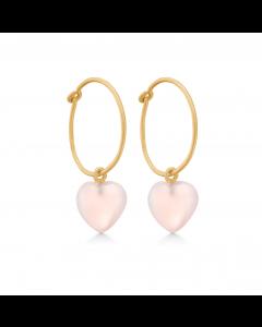 Stone Heart Rosaforgyldt Sølv Øreringe fra Frk Lisberg med Rosa Calcedon